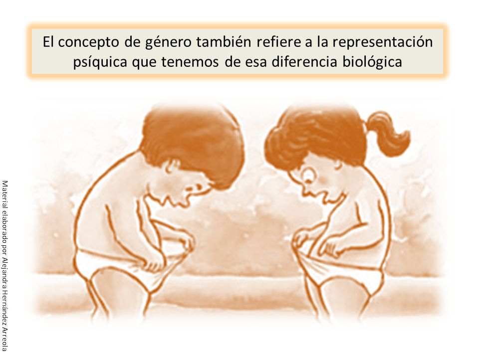 El concepto de género también refiere a la representación psíquica que tenemos de esa diferencia biológica Material elaborado por Alejandra Hernández
