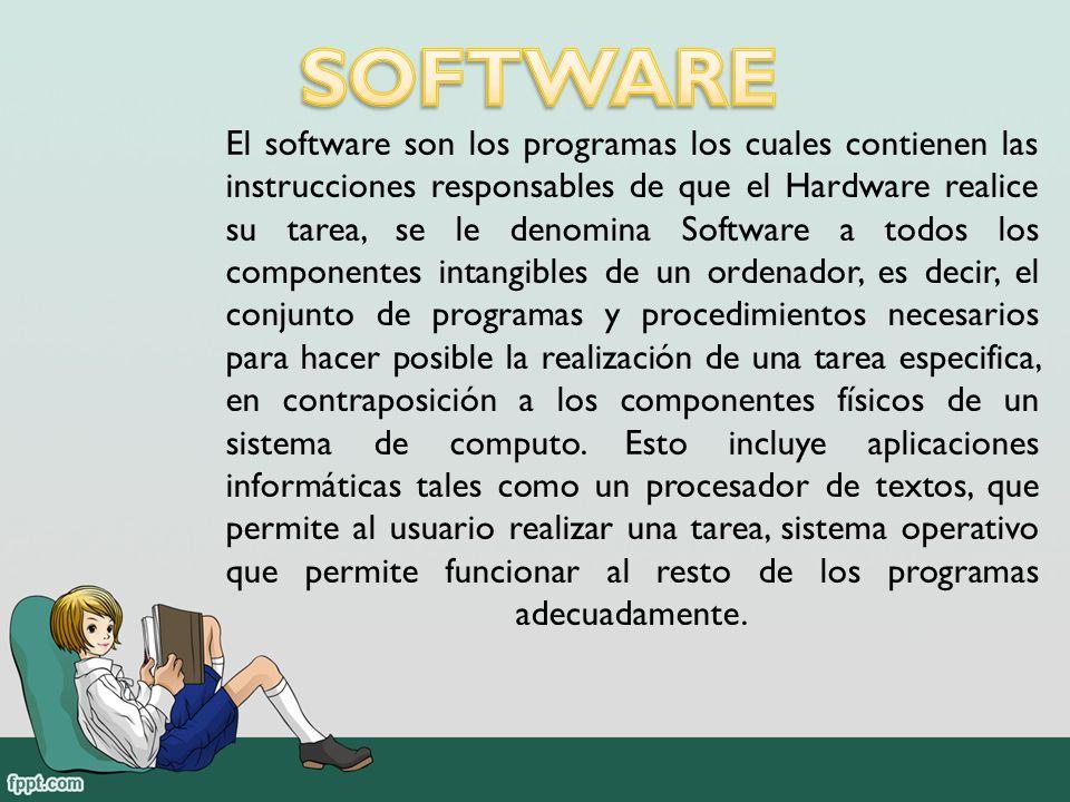 El software son los programas los cuales contienen las instrucciones responsables de que el Hardware realice su tarea, se le denomina Software a todos los componentes intangibles de un ordenador, es decir, el conjunto de programas y procedimientos necesarios para hacer posible la realización de una tarea especifica, en contraposición a los componentes físicos de un sistema de computo.