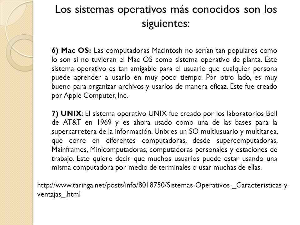 Los sistemas operativos más conocidos son los siguientes: 6) Mac OS: Las computadoras Macintosh no serían tan populares como lo son si no tuvieran el Mac OS como sistema operativo de planta.