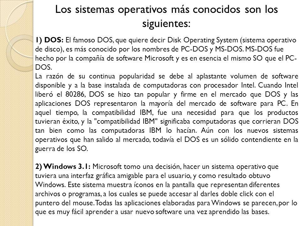 Los sistemas operativos más conocidos son los siguientes: 3) Windows 95: En 1995, Microsoft introdujo una nueva y mejorada versión del Windows 3.1.
