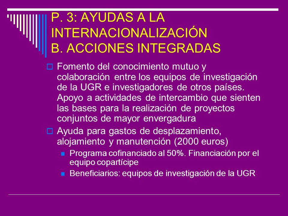 P. 3: AYUDAS A LA INTERNACIONALIZACIÓN B.