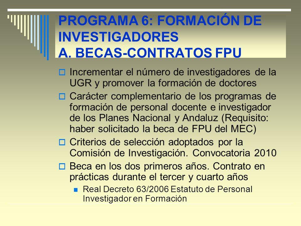 PROGRAMA 6: FORMACIÓN DE INVESTIGADORES A.