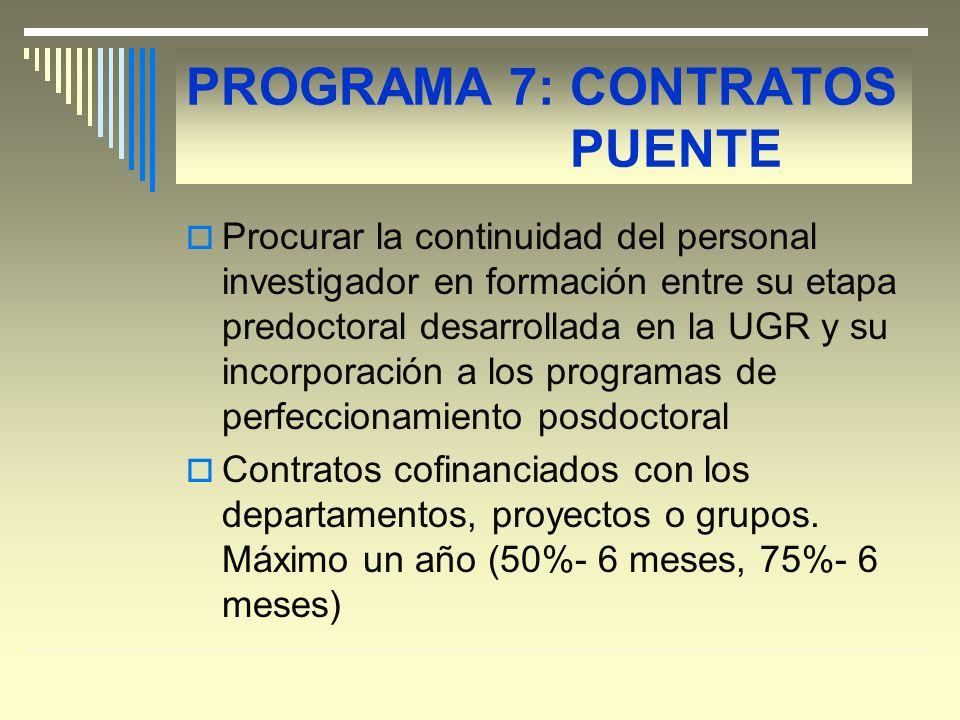 PROGRAMA 7: CONTRATOS PUENTE Procurar la continuidad del personal investigador en formación entre su etapa predoctoral desarrollada en la UGR y su incorporación a los programas de perfeccionamiento posdoctoral Contratos cofinanciados con los departamentos, proyectos o grupos.