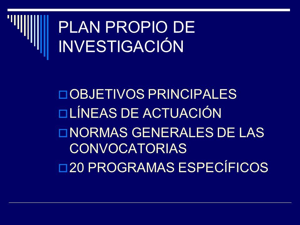 PLAN PROPIO DE INVESTIGACIÓN OBJETIVOS PRINCIPALES LÍNEAS DE ACTUACIÓN NORMAS GENERALES DE LAS CONVOCATORIAS 20 PROGRAMAS ESPECÍFICOS