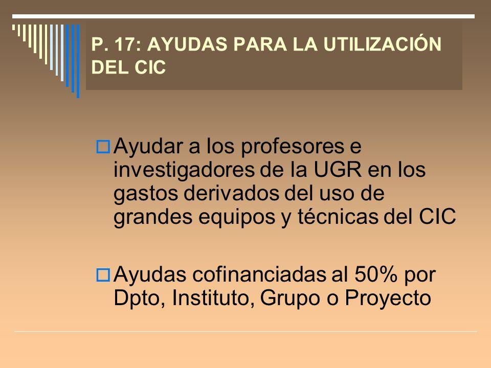 P. 17: AYUDAS PARA LA UTILIZACIÓN DEL CIC Ayudar a los profesores e investigadores de la UGR en los gastos derivados del uso de grandes equipos y técn