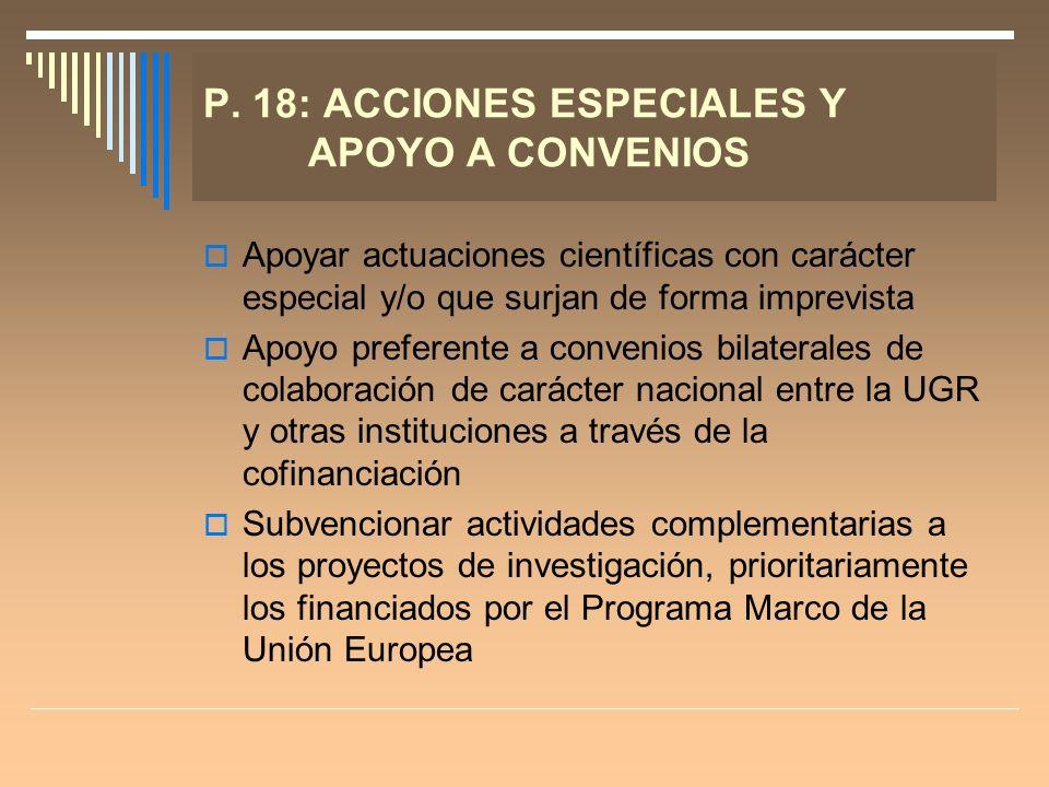 P. 18: ACCIONES ESPECIALES Y APOYO A CONVENIOS Apoyar actuaciones científicas con carácter especial y/o que surjan de forma imprevista Apoyo preferent
