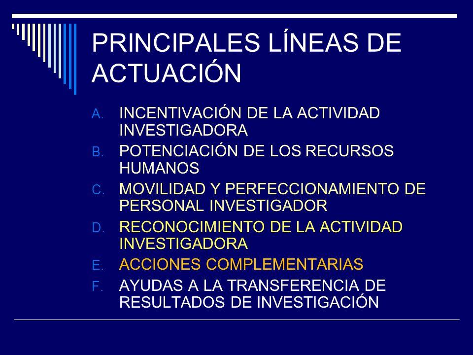 PRINCIPALES LÍNEAS DE ACTUACIÓN A. INCENTIVACIÓN DE LA ACTIVIDAD INVESTIGADORA B.