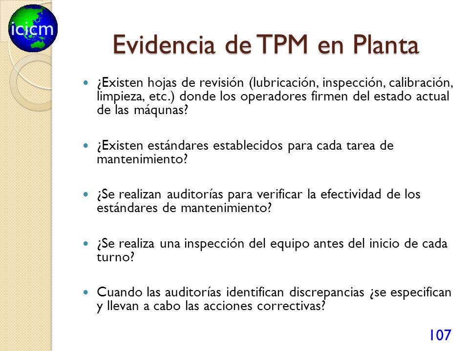 icicm Evidencia de TPM en Planta ¿Existen hojas de revisión (lubricación, inspección, calibración, limpieza, etc.) donde los operadores firmen del est