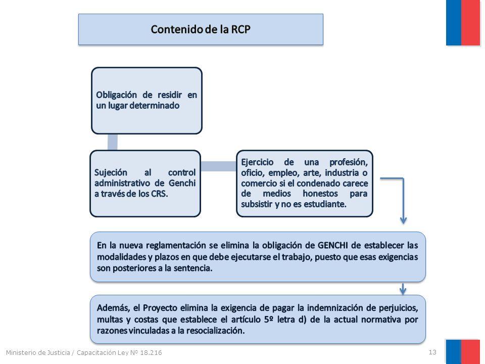 Ministerio de Justicia / Capacitación Ley Nº 18.216 13