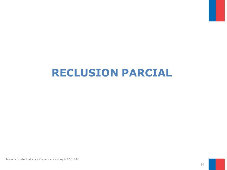 RECLUSION PARCIAL Ministerio de Justicia / Capacitación Ley Nº 18.216 14