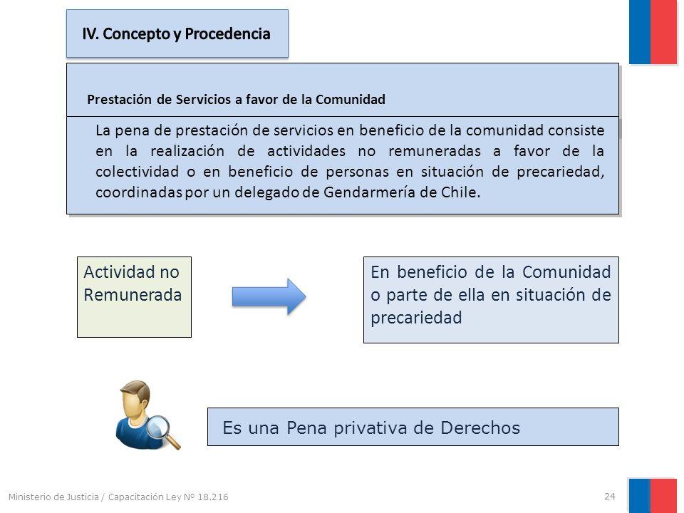 Prestación de Servicios a favor de la Comunidad La pena de prestación de servicios en beneficio de la comunidad consiste en la realización de activida