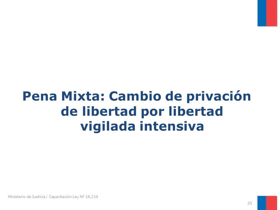 Pena Mixta: Cambio de privación de libertad por libertad vigilada intensiva Ministerio de Justicia / Capacitación Ley Nº 18.216 33