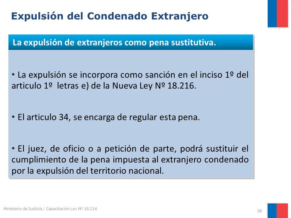 Expulsión del Condenado Extranjero La expulsión de extranjeros como pena sustitutiva. La expulsión se incorpora como sanción en el inciso 1º del artic
