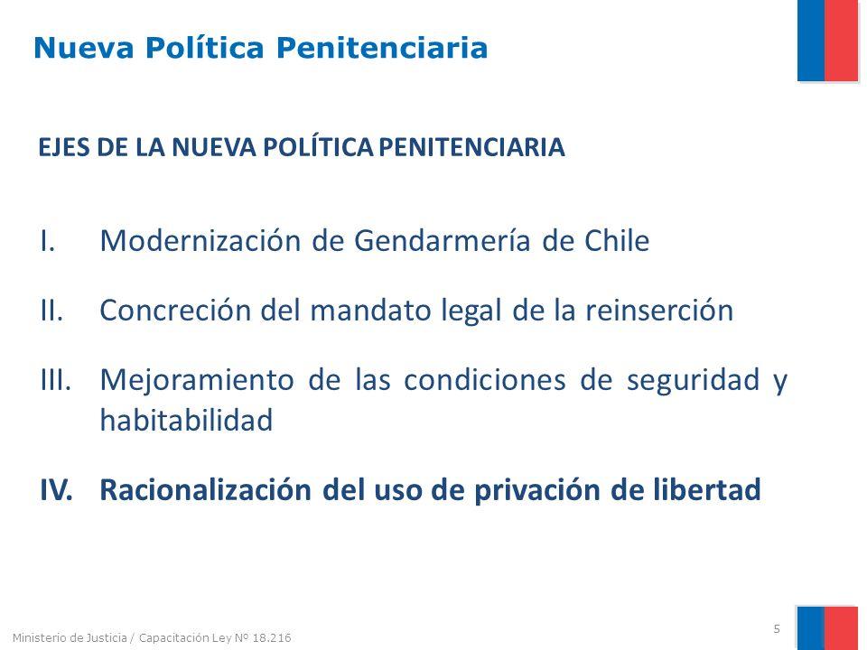Nueva Política Penitenciaria EJES DE LA NUEVA POLÍTICA PENITENCIARIA I.Modernización de Gendarmería de Chile II.Concreción del mandato legal de la rei