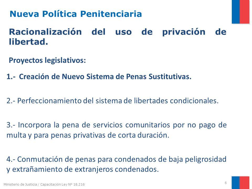 Nueva Política Penitenciaria Racionalización del uso de privación de libertad. Proyectos legislativos: 1.-Creación de Nuevo Sistema de Penas Sustituti
