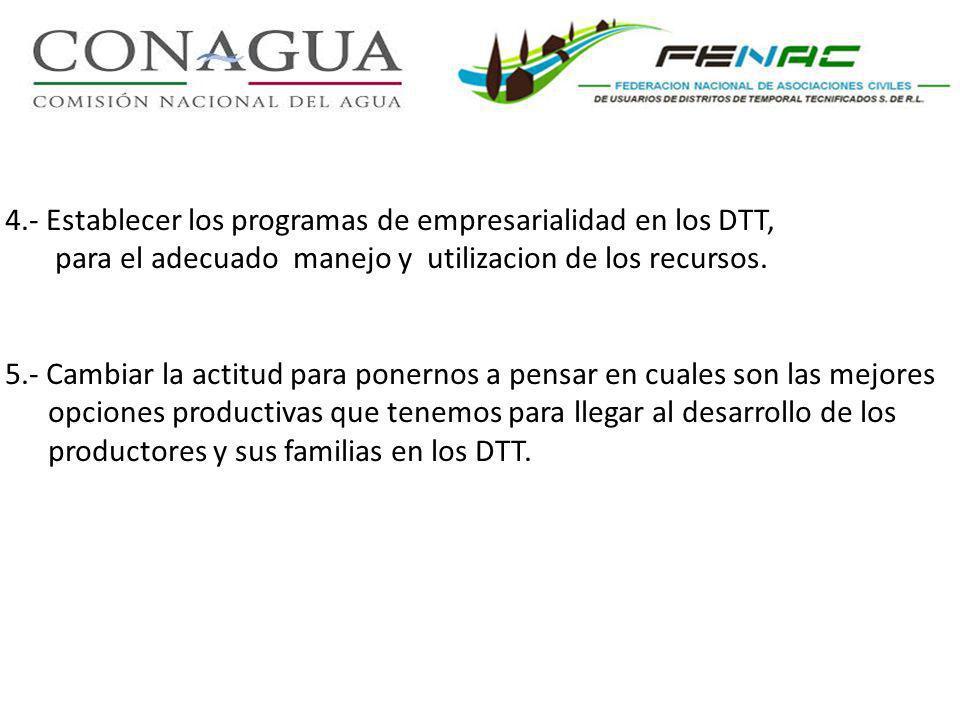 4.- Establecer los programas de empresarialidad en los DTT, para el adecuado manejo y utilizacion de los recursos. 5.- Cambiar la actitud para ponerno