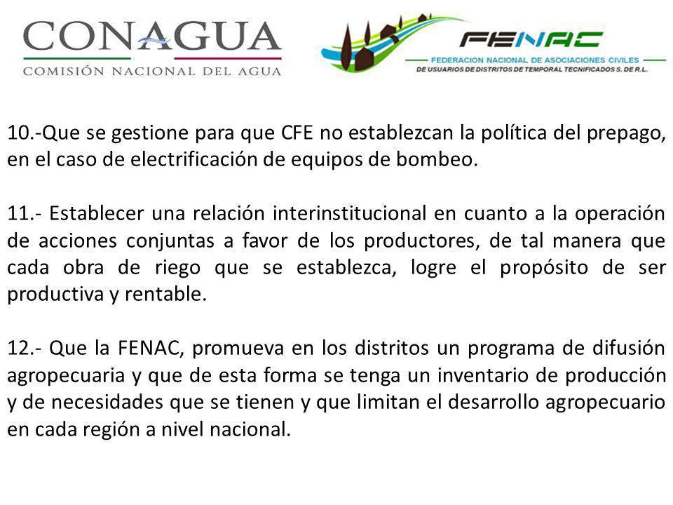 10.-Que se gestione para que CFE no establezcan la política del prepago, en el caso de electrificación de equipos de bombeo.