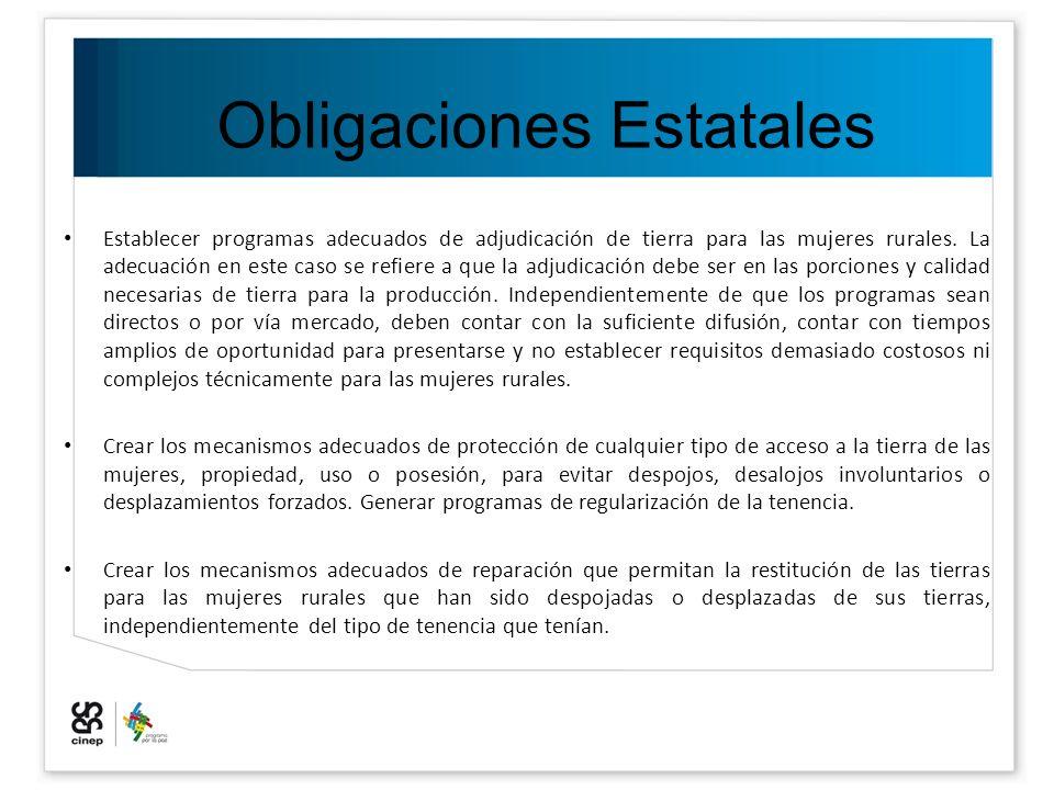 Obligaciones Estatales Establecer programas adecuados de adjudicación de tierra para las mujeres rurales. La adecuación en este caso se refiere a que