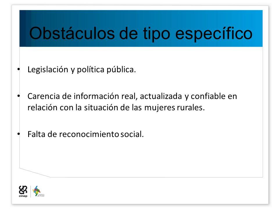 Obstáculos de tipo específico Legislación y política pública. Carencia de información real, actualizada y confiable en relación con la situación de la