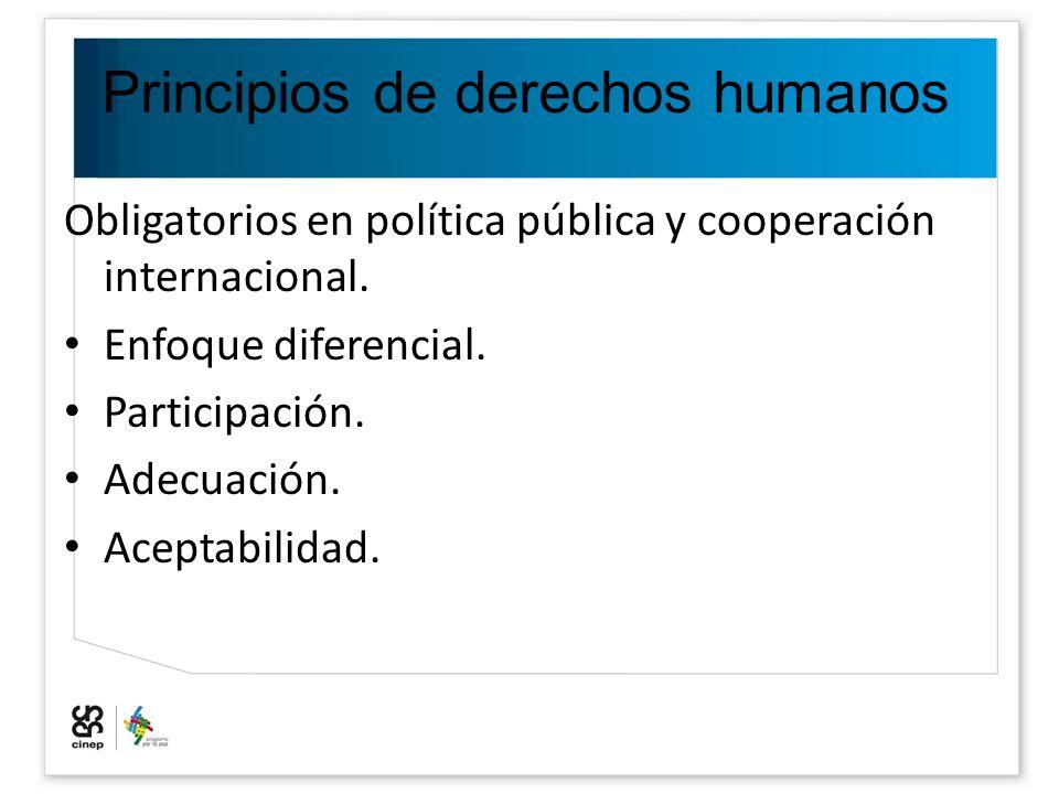 Principios de derechos humanos Obligatorios en política pública y cooperación internacional. Enfoque diferencial. Participación. Adecuación. Aceptabil