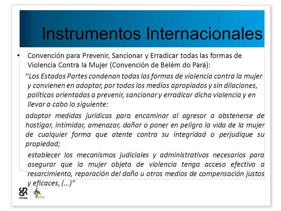 Instrumentos Internacionales Convención para Prevenir, Sancionar y Erradicar todas las formas de Violencia Contra la Mujer (Convención de Belém do Par