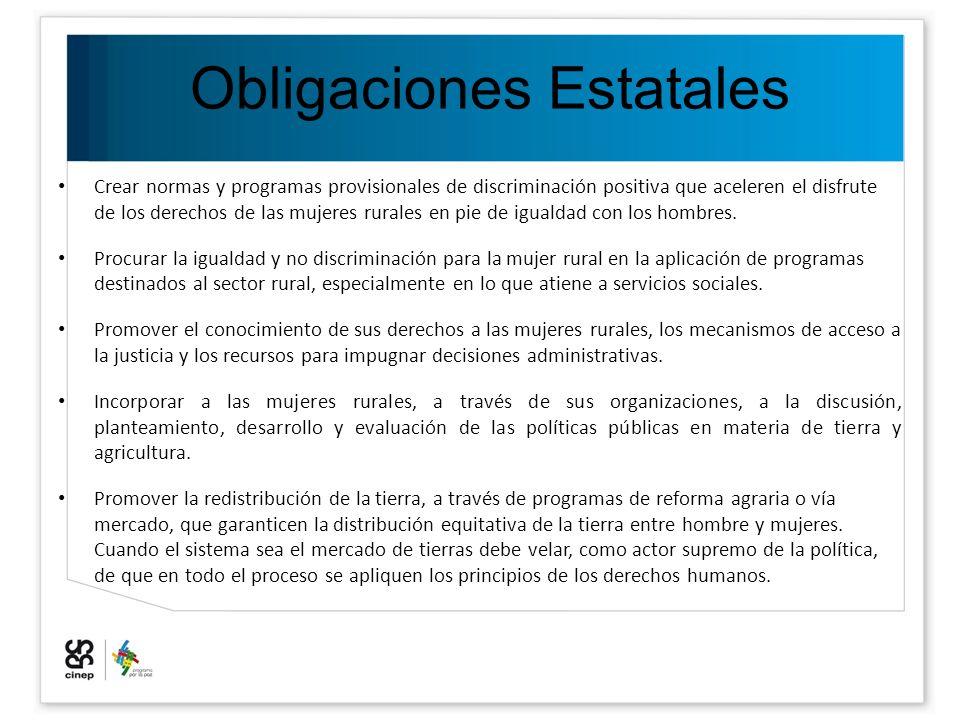 Obligaciones Estatales Crear normas y programas provisionales de discriminación positiva que aceleren el disfrute de los derechos de las mujeres rural