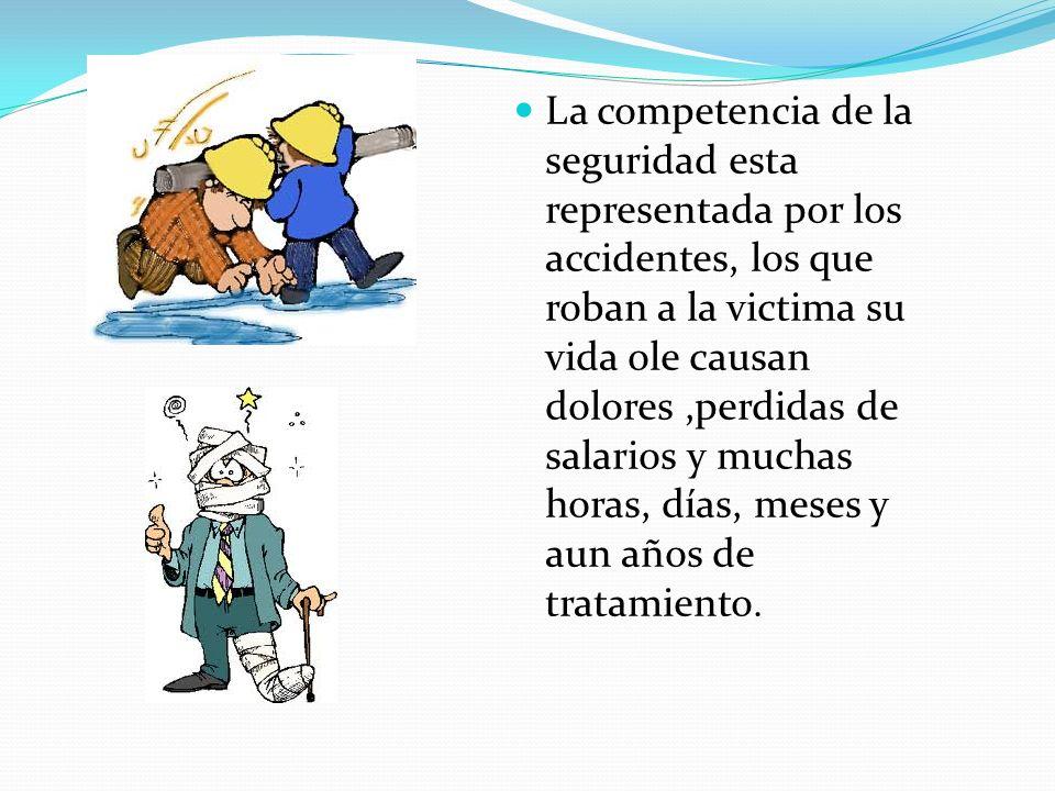 La competencia de la seguridad esta representada por los accidentes, los que roban a la victima su vida ole causan dolores,perdidas de salarios y much
