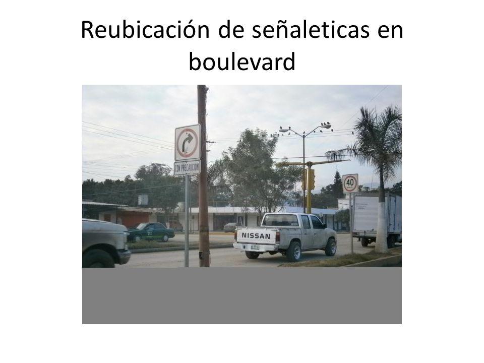 Reubicación de señaleticas en boulevard