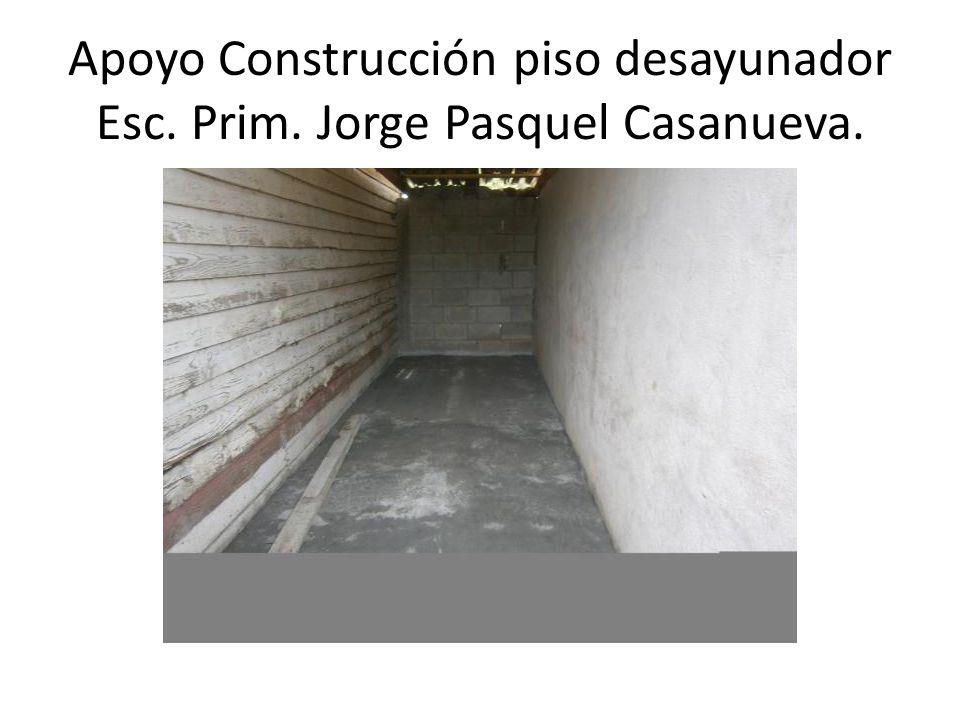 Apoyo Construcción piso desayunador Esc. Prim. Jorge Pasquel Casanueva.