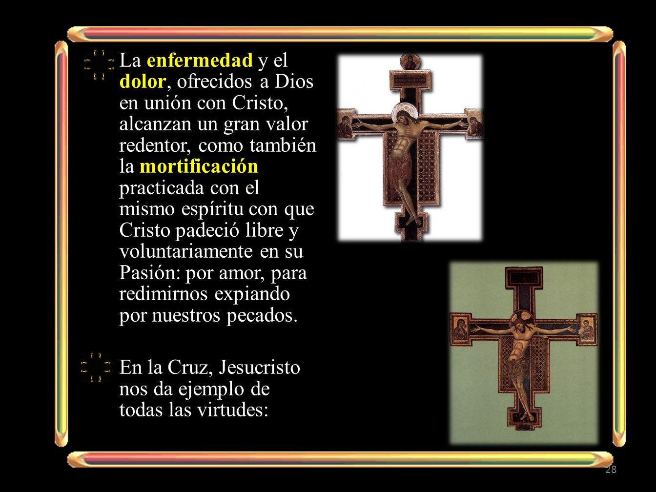 La enfermedad y el dolor, ofrecidos a Dios en unión con Cristo, alcanzan un gran valor redentor, como también la mortificación practicada con el mismo