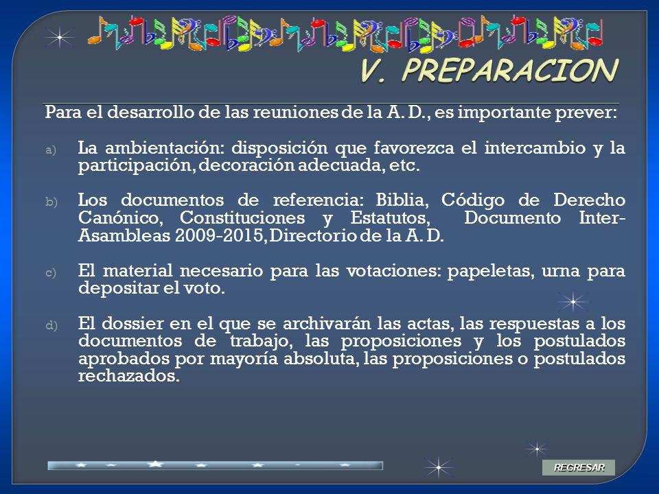 Para el desarrollo de las reuniones de la A. D., es importante prever: a) La ambientación: disposición que favorezca el intercambio y la participación