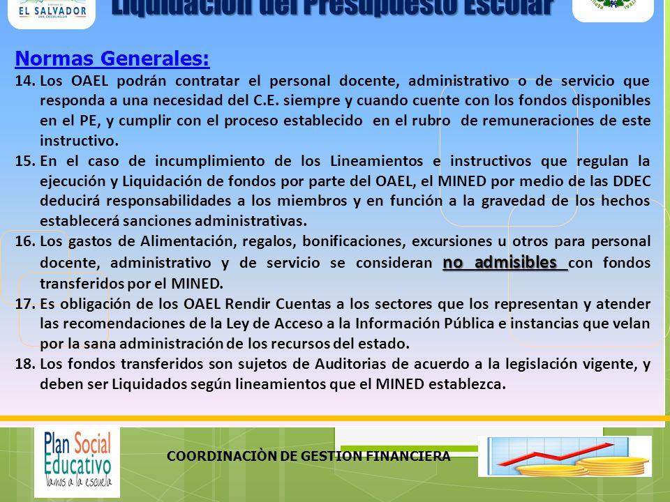 COORDINACIÒN DE GESTION FINANCIERA Normas Generales: 14.Los OAEL podrán contratar el personal docente, administrativo o de servicio que responda a una