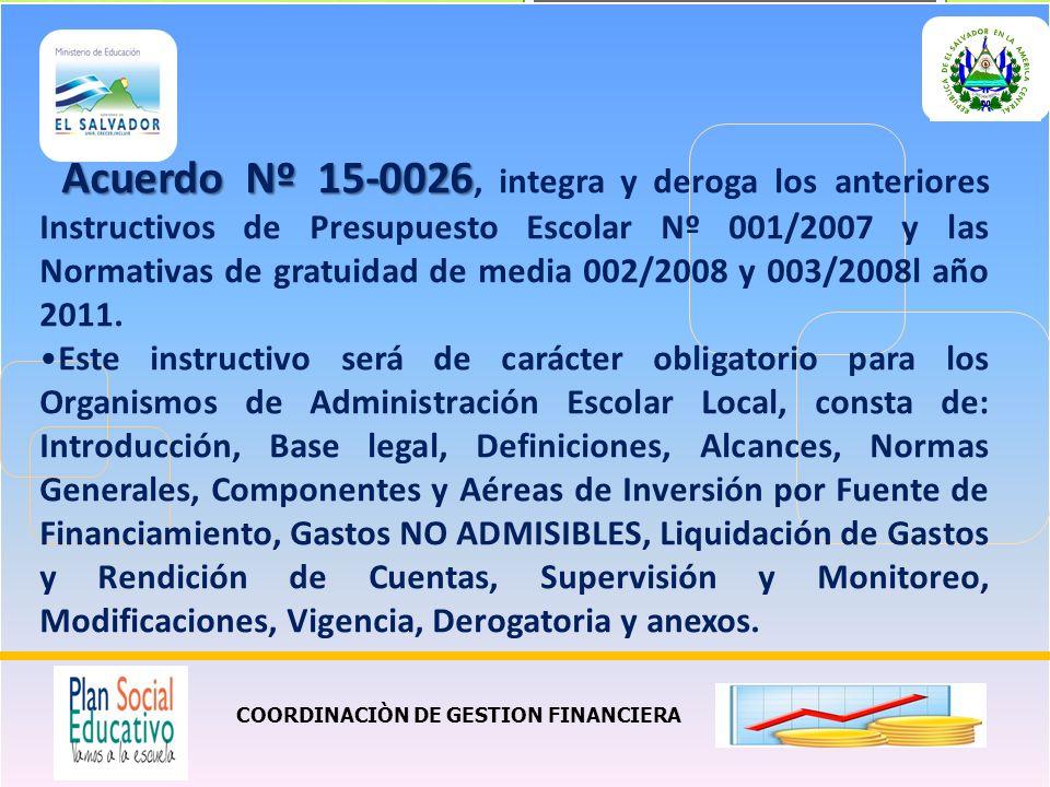 COORDINACIÒN DE GESTION FINANCIERA Acuerdo Nº 15-0026 Acuerdo Nº 15-0026, integra y deroga los anteriores Instructivos de Presupuesto Escolar Nº 001/2