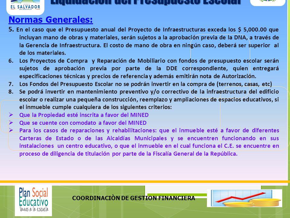COORDINACIÒN DE GESTION FINANCIERA Normas Generales: 9.