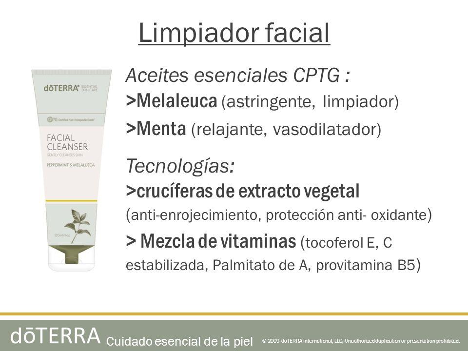 Aceites esenciales CPTG : >Melaleuca (astringente, limpiador) >Menta (relajante, vasodilatador) Tecnologías: >crucíferas de extracto vegetal ( anti-en