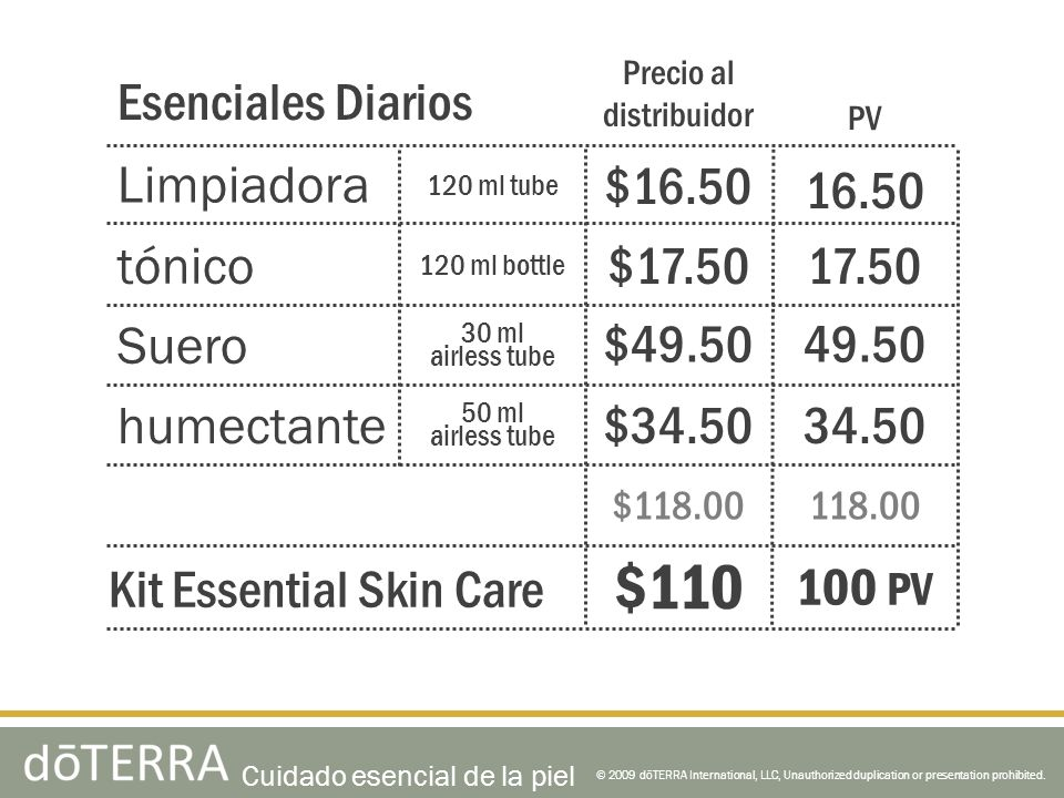 © 2009 dōTERRA International, LLC, Unauthorized duplication or presentation prohibited. Limpiadora tónico Suero humectante Esenciales Diarios Kit Esse