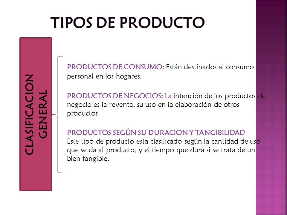PRODUCTOS DE CONSUMO: Están destinados al consumo personal en los hogares. PRODUCTOS DE NEGOCIOS: La intención de los productos de negocio es la reven