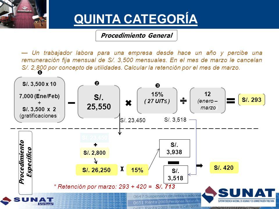 S/. 3,500 x 10 + 7,000 (Ene/Feb) + S/. 3,500 x 2 (gratificaciones ) S/. 25,550 15% ( 27 UIT ) Procedimiento General 12 (enero – marzo) S/. 2,800 15% S