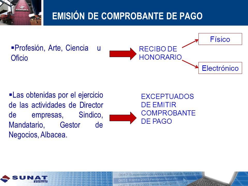 EMISIÓN DE COMPROBANTE DE PAGO Las obtenidas por el ejercicio de las actividades de Director de empresas, Sindico, Mandatario, Gestor de Negocios, Alb