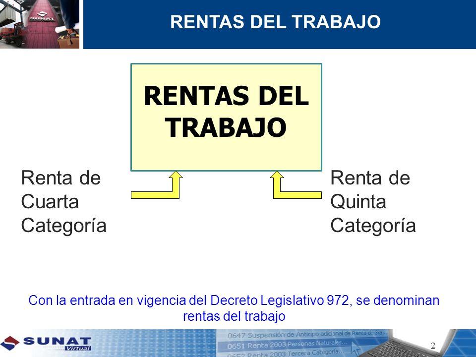 Con la 2 Con la entrada en vigencia del Decreto Legislativo 972, se denominan rentas del trabajo Renta de Cuarta Categoría Renta de Quinta Categoría R