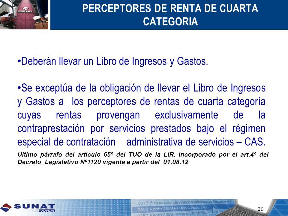 PERCEPTORES DE RENTA DE CUARTA CATEGORIA 20 Deberán llevar un Libro de Ingresos y Gastos. Se exceptúa de la obligación de llevar el Libro de Ingresos