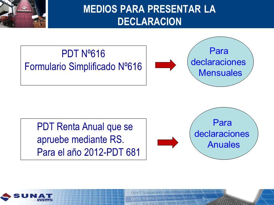 MEDIOS PARA PRESENTAR LA DECLARACION PDT Nº616 Formulario Simplificado Nº616 PDT Nº616 Formulario Simplificado Nº616 Para declaraciones Mensuales Para