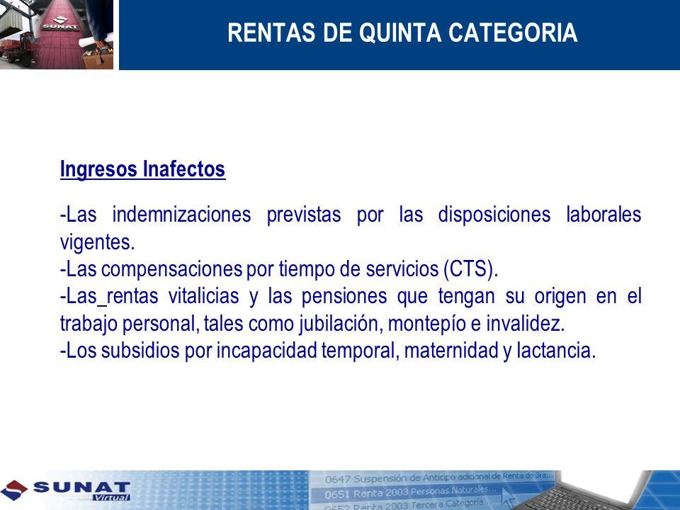 RENTAS DE QUINTA CATEGORIA Ingresos Inafectos -Las indemnizaciones previstas por las disposiciones laborales vigentes. -Las compensaciones por tiempo