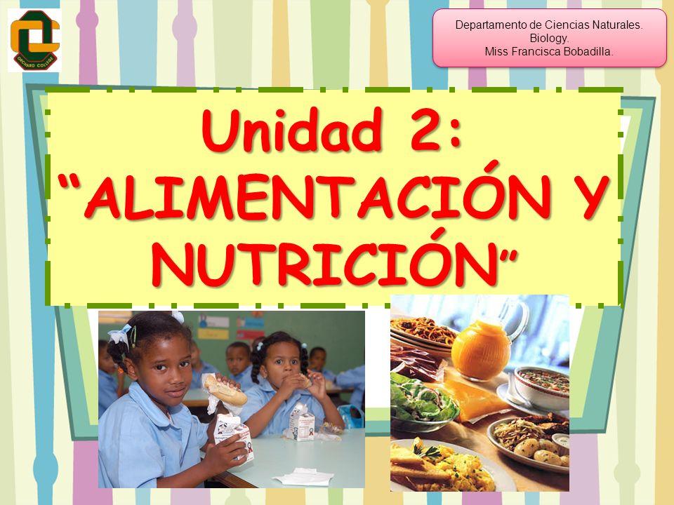Unidad 2: ALIMENTACIÓN Y NUTRICIÓN Unidad 2: ALIMENTACIÓN Y NUTRICIÓN Departamento de Ciencias Naturales. Biology. Miss Francisca Bobadilla. Departame