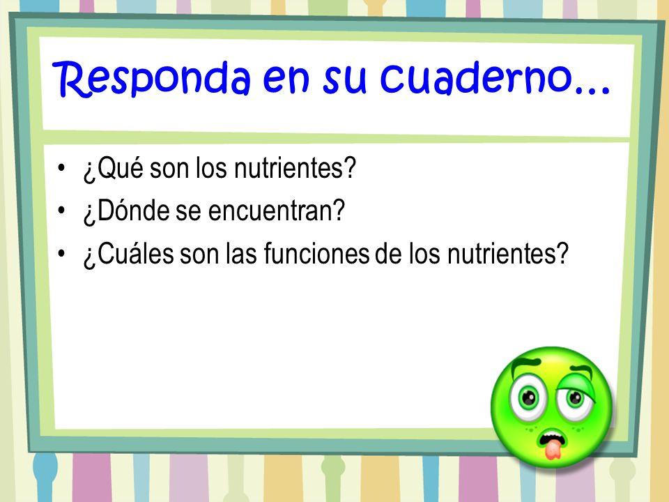 Responda en su cuaderno… ¿Qué son los nutrientes? ¿Dónde se encuentran? ¿Cuáles son las funciones de los nutrientes?