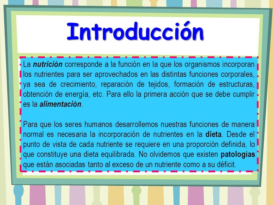 Introducción La nutrición corresponde a la función en la que los organismos incorporan los nutrientes para ser aprovechados en las distintas funciones