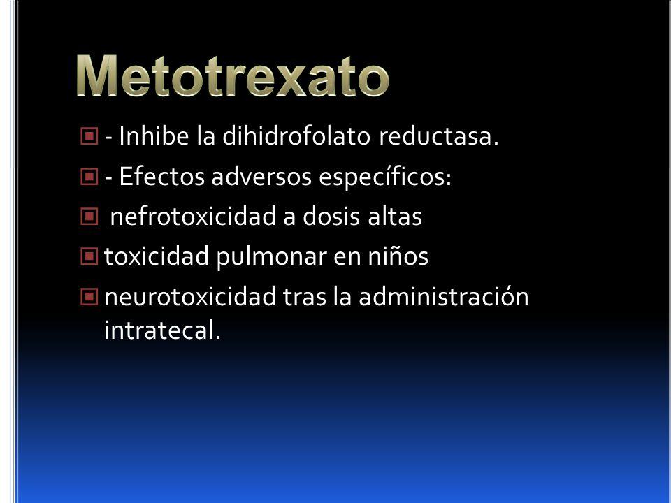 - Inhibe la dihidrofolato reductasa. - Efectos adversos específicos: nefrotoxicidad a dosis altas toxicidad pulmonar en niños neurotoxicidad tras la a