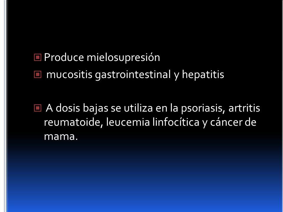 Produce mielosupresión mucositis gastrointestinal y hepatitis A dosis bajas se utiliza en la psoriasis, artritis reumatoide, leucemia linfocítica y cá