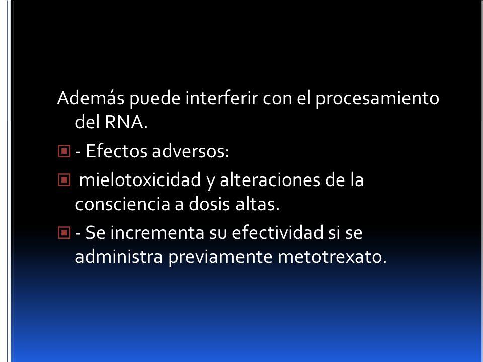 Además puede interferir con el procesamiento del RNA. - Efectos adversos: mielotoxicidad y alteraciones de la consciencia a dosis altas. - Se incremen