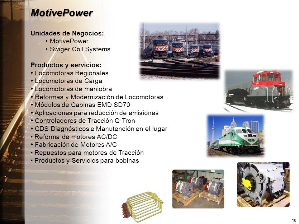 MotivePower Unidades de Negocios: MotivePower Swiger Coil Systems Productos y servicios: Locomotoras Regionales Locomotoras de Carga Locomotoras de maniobra Reformas y Modernización de Locomotoras Módulos de Cabinas EMD SD70 Aplicaciones para reducción de emisiones Controladores de Tracción Q-Tron CDS Diagnósticos e Manutención en el lugar Reforma de motores AC/DC Fabricación de Motores A/C Repuestos para motores de Tracción Productos y Servicios para bobinas 10